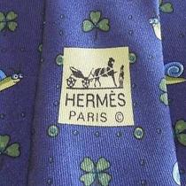Hermes Tie Twill Silk Designer Snail Clover Theme Pattern Blue Necktie 7875 Ua Photo