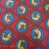Hermes Tie Twill Silk Designer Yellow Dolphin Pattern Red Dress Necktie 911 Ha Photo
