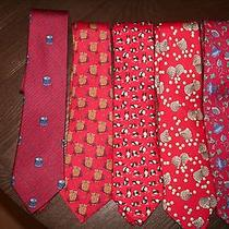 Hermes Ties 100% Authenticsilk Owls Pandas Drums Flowers Shells (5 Total) Photo