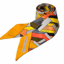 Hermes Tilly Scarf Silk Twill Orange Yellow no.74477 Photo