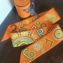 Hermes Tohu Bohu Twilly Scarf 100% Silk Orange Multicolor With '24 Fbg' Motifs Photo