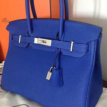 Hermes Unused 2014 Electric Blue Sapphire 30cm Birkin Bag Silver Hw - Like New Photo