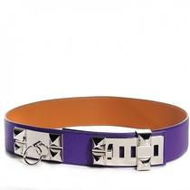 Hermes Veau Epsom Leather Collier De Chien Waist Belt Accessory Purple Crocus Photo