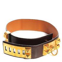 Hermes Vintage Box Collier De Chien Cdc Belt 65 Chocolate Photo