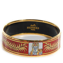 Hermes Vintage Enamel Printed Royal Crown Tiger Wide Bracelet Bangle 65 Red Gold Photo