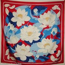 Hermes Vintage Fleurs De Lotus Christiane Vauzelles 100% Silk Scarf C1976 90cm Photo