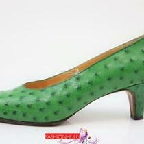 Hermes Vintage Green Ostrich Pointed Toe Pumps Shoes 39.5 /us 8.5 Photo