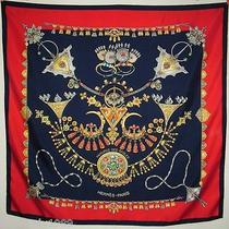 Hermes Vintage Parures Des Sables Laurence Bourthoumieux 100% Silk Scarf 90cm Photo