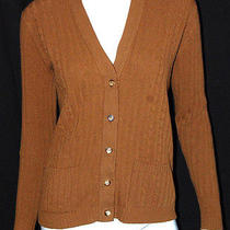 Hermes Vintage Tobacco Cashmere Cable Knit Cardigan Sweater 42 Photo