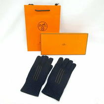 Hermes Warsaw Gloves Cashmere 100 Navy With Outer Box Marine no.7562 Photo