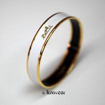 Hermes White and Gold Enamel Bracelet / Bangle