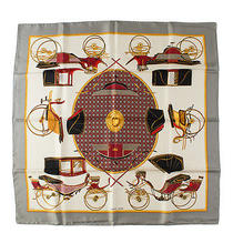 Hermes White and Grey Les Voitures a Transformation Scarf Photo