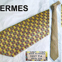 Hermes Yellow Art Deco Graphic Silk Tie 7037 Ta Photo