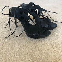 Herve Leger Black & Silver Stiletto High Heels Shoes Straps Size 38 Photo