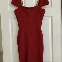 Herve Leger Dark Red Knitted Bodycon Dress Size S Photo