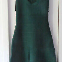 Herve Leger Dress Bottle Green Xs Rrp 1090 Bnwt Photo
