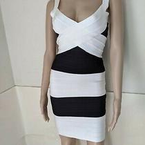 Herve Leger Icon Dress Size Xsmall Color Black/white Photo