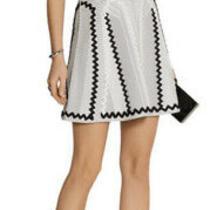Herve Leger Morenia Short Sleeve Fit & Flare Dress Xs Black & White Applique Photo