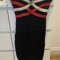 Herve Leger Style h&m Dress Black Bodycon Cream and Red Stripe Uk Small Photo