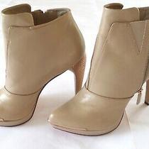 Herve Leger Women's Mercer Heel Bootie Boot Platform Zip Almond Toe Nude Sz 10m Photo