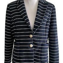Hi There by Karen Walker for Anthropologie Navy Striped Blazer Size 12 Photo