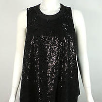 High by Claire Campbell Black Sequin Fluted Top S.42/uk10 Beautiful Piece Photo