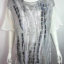High by Claire Campbell Grey/white Printed Asymmetric T-Shirt Xl Bnwts Rrp 193 Photo