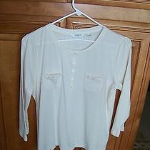 High End Casual Cotton Blend Pullover Shirt Sz Pm Ivory Liz Claiborne Top  Photo