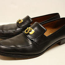 High End Salvatore Ferragamo Black Quality Loafers With Gold Buckle Sz 7.5 Aa 2a Photo
