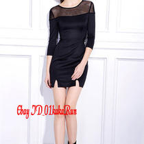 High-End Women's 3/4 Sleeve Star Style Sexy Hollow Out Clear Gauze Element Dress Photo
