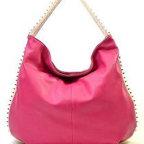 High Fashion Pink Fuchsia Modern Studded Hobo Photo