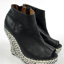 High Heels Jeffrey Campbell Tick Black Shiny Leather Bootie Ankle Boots Sz 9 Photo