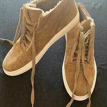 High Top Sneakers via Spigataupe Suede W/ Fleece Lining Women's Size 10 1/2 Photo