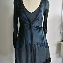 High Use Claire Campbell Unique Black Cotton Satin Dress Fr 38 Us 6 Girbaud Photo