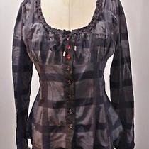 High Use Striped Black Grey Top Girbaud Claire Campbell I 42 F 38 Us 4 6 Small Photo