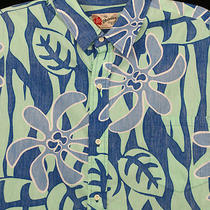 Hilo Hattie 2xl Hawaiian Shirt Blue Aqua Stylized Mod Flowers Made Hawaii Mens Photo