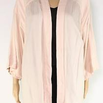 Hinge Womens Sweater Blush Pink Size Large L Floral-Lace Open Front Cardigan 565 Photo