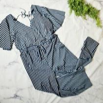 Hint of Blush Navy Striped Wide Leg Surplice Wrap Flutter Sleeve Jumpsuit 2x 18 Photo