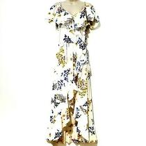 Hint of Blush Size L Women's Floral Ruffled Maxi Wrap Dress Multicolor Nwt New Photo