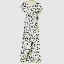 Hint of Blush Size L Women's Floral Ruffled Maxi Wrap Dress White Blue Nwt New Photo