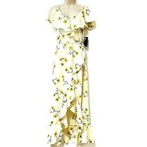 Hint of Blush Size M Women's Floral Ruffled Maxi Wrap Dress Light Yellow Nwt New Photo