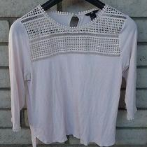 Hm Embroidered Lace Top Sz Large Blush Pink Pastel 3/4