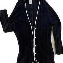 Hm h&m Womans 3/4 Sleeve Cardigan Sweater Top Navy Blue M Photo