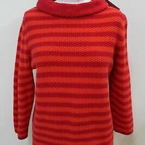 Hobbs Ladies Red Orange Cotton Collared Knit Camilla Stripe Sweater Size L New Photo