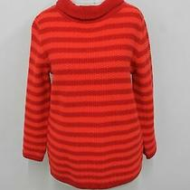 Hobbs Ladies Red Orange Roll Neck Knitted Camilla Striped Sweater Size S New Photo
