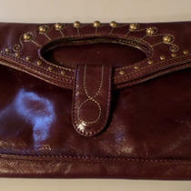 Hobo 100% Genuine Cognac Leather & Gold Studded Clutch Chic Nwot Nice Photo