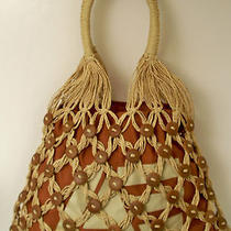 Hobo Bag 100% Paper  American Eagle Rust Brown Natural Wood Buttons Exc Preowned Photo