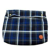 Hobo Check Flannel Second Clutch Bag Snap Button Navy Multi Made in Japan Mens Photo