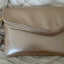 Hobo Daria Crossbody Clutch Purse Small Light Gold Blush Leather Chain Strap Photo