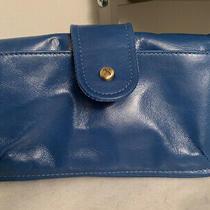 Hobo Galaxy Blue Leather Zip-Around Clutch Wallet Wristlet Nwot - Defect (Snap) Photo